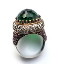 Turkish Style Ring 925 Sterling Silver and Brass Ring Sapphire Emerald Crystals