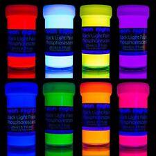 Glow in the Dark Neon Luminescent Phosphorescent Self Luminous Paint Set of 8