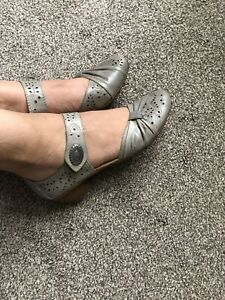Rieker Real Leather Touch Fasten Block Heel Mary Jane Strap Shoes 37 Uk 4