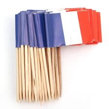 Lot De 50 Pcs Mini Cure-dents En Bois Avec Drapeau Pr Decor Fete Partie Fru S2L8