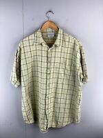 Fabiani Men's Short Sleeved Button Up Shirt Size 2XL Green Check