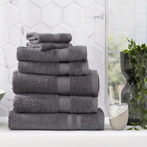 Renee Taylor Stella 650 GSM Bamboo Cotton Bath Towel Pack & Individual Charcoal