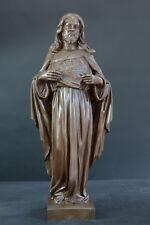 Grande statue religieuse bronze Portrait Christ Jésus Sacré Coeur  lot 3 rare