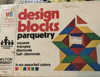 Vintage 1977 Parquetry Wood Blocks In Original Box Milton Bradley