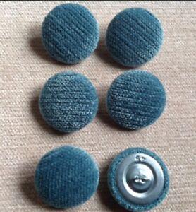 Teal Pimlico Chenille Velvet 45L/28mm Upholstery Loop Back Buttons Blue/Green