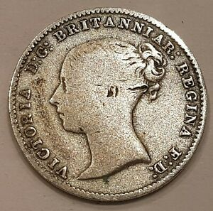 1868 Young Head Victoria Three Pence Silver Coin L3