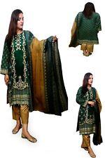 Stitched Ladies Shalwar Kameez Green Linen Pakistani/Indian Kurta Salwar 3 Pcs