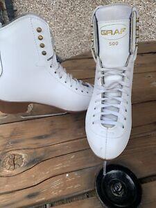 GRAF 500 Girls Womens White Ice Skates EU Size 38, UK Size 5