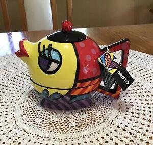 ROMERO BRITTO FISH TEA FOR ONE SET # 333216 teapot cup NWT no box