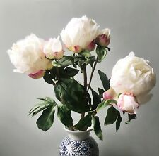 3 Large White Peonies w Buds Realistic Artificial Luxury Faux Silk Peony Flowers