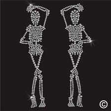 Skull Rhinestone Diamante Transfer Iron On Hotfix Gem Crystal T Shirt Motif