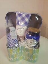 All occassion Woman Gift Basket Gingham Spa Bath & Body Work  Blue/Purple