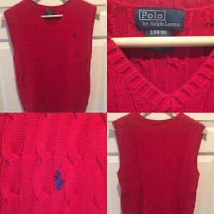 🏇Polo Ralph Lauren Cable Knit Sweater Vest Big Kids Size Large (14/16) Red