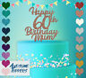 Personalised Custom Happy 60th Birthday Mum Dad Glitter Cake Topper Party Name