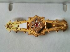 Stunning, Antique, 9ct Gold Ruby And Seed Pearls Brooch ( Chester 1901)