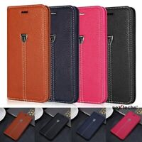 Real Genuine Leather Flip Wallet Slim Case Cover For iPhone 5 6 6S 7 8 Plus - XY