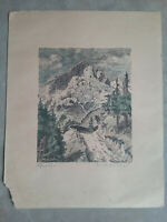 Vintage Lithograph from Europe, SIGNED in pencil - mountains