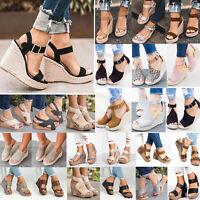 Damen hohe Keilabsatz Wedges High Heels Sandalen Espadrilles Sandaletten Pumps