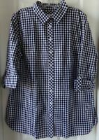 NWT NEW  TALBOTS PLAID CHECK SHIRT NAVY / WHITE SIZE LARGE $69.50