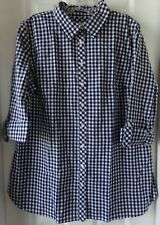 NWT NEW SPRING / SUMMER TALBOTS PLAID CHECK SHIRT NAVY / WHITE SIZE LARGE $69.50
