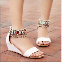 Womens Ladies Boho Beads Fringe Sandals White Beige Black Wedge Heels Shoes Plus