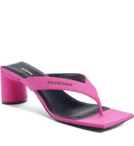 Authentic Balenciaga Double Square Toe 60mm Lipstick Pink Sandals Size 7.5