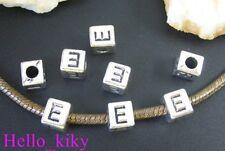 40 pcs Tibetan silver letter E cube beads A494