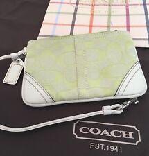 COACH White Green WALLET/WRISTLET