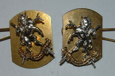 QUEEN'S OWN LOWLAND YEO ANODISED  PAIR OF COLLAR BADGES