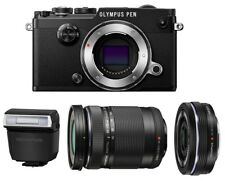 Olympus PEN-F Digital Camera w/  M.Zuiko 14-42mm EZ & 40-150mm Lenses [Black]