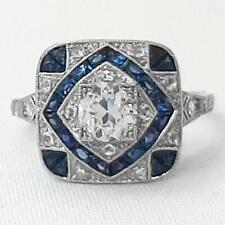 Handcarved Platinum 1.23ctw G-SI Diamond European Cut & Sapphire French Cut Ring