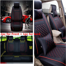 Size M Auto Car SUV Seat Cover Cushion 5-Seats Front + Rear PU Leather w/Pillows
