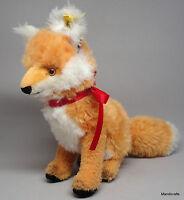 Steiff Cosy Fuzzy Fox Sitting Dralon Plush 22cm 9in ID Button Tag 1960s Vintage