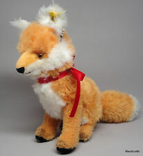 Steiff Cosy Fuzzy Fox Sitting Dralon Plush 22cm 9in ID Button Tag 1960s Vintage