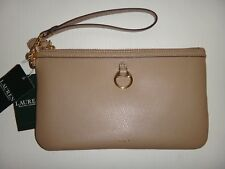 RALPH LAUREN Women's Allenville Zip Clutch Wristlet Wallet Taupe Genuine Leather