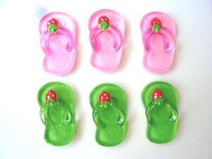 20 Pink & Green Strawberry Slipper Summer Resin Flatback Button/Scrapbooking B58
