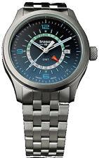 Traser Tritium Watch - Novelties Collection - P59 Aurora GMT Blue w/ Steel Strap