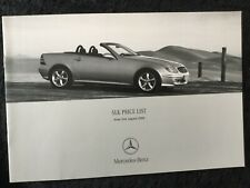 Mercedes SLK Class Price List brochure  in Excellent condition August 2000