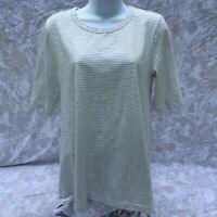 MODODOC White Gray Striped Short Sleeve Knit Top Women's Size Medium