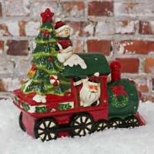 Musical Multi Colored LED Light Up Twinkling Ceramic Christmas Train Decoration