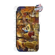 Christmas Nativity Holiday Wallet Flip Phone Case Cover For iPhone Samsung etc