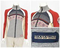 Womens Napapijri Wool Knit Cardigan Sweater Full Zip Nordic Fair Isle Size M