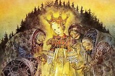 Sulamith Wulfing 1958 PRECIOUS LITTLE PRINCESS w KRONES Lithograph Card Matted