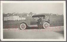 Vintage Car Photo Woman w/ 1918 Overland Automobile on Roadside 771304