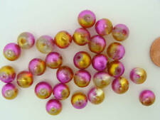 30 perles en verre 6 mm blanc effet moucheté vert et rose avec balayages dorés