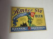Vtg 1930s Banner Brewing Beer Bottle Label Milwaukee Wisconsin Brewery Unused