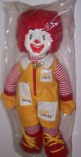 "Ronald McDonald Clown Stuffed Cloth 15"" Doll Tie Shoes Zipper & Pockets Sealed"