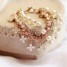 White Pearl Clover Leather Rope Bracelet