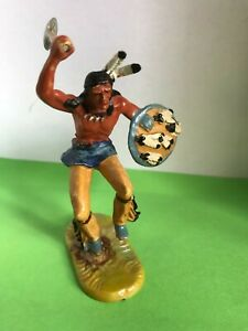 Elastolin Indianer im Sprung mit Tomahawk - Wildwest Kunststofffigur 7cm,