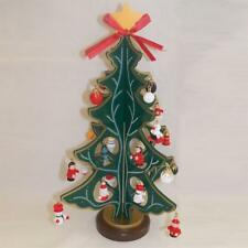 Premier Wooden Christmas Tree with 25 Ornaments & Star Top - Green